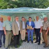 Am Stand der BJV-Kreisgruppe von links: Norbert Schäffer (Vors. LBV), Markus Dollacker (Vors. Naturpark Hirschwald, BGM Ensdorf), Hans Kummert (Stv. Landrat), Ruppert Schmid (Vors. BJV KG Amberg), Stefan Renner (BJV KG Amberg), Tobias Gotthardt (MdL), Franz Mädler (BGM Ursensollen), Peter Fröhlich (BJV KG Amberg)