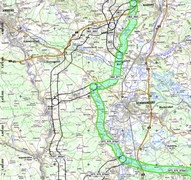 SuedOstLink: Favorisierter Trassenkorridor: blaugrün; Alternativkorridore: schwarz umrandet